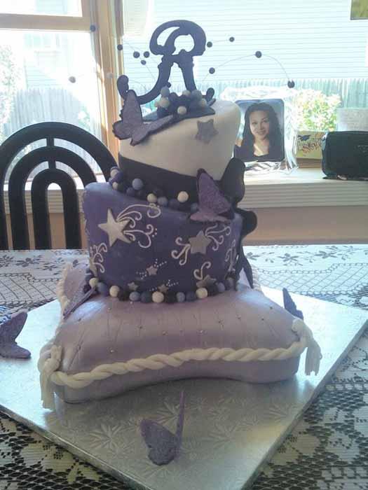 3 tiered purple cake