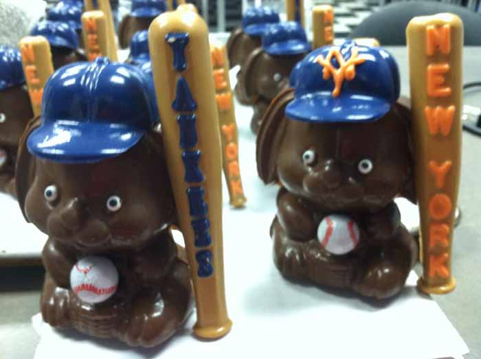 Baseball chocolate bunnies
