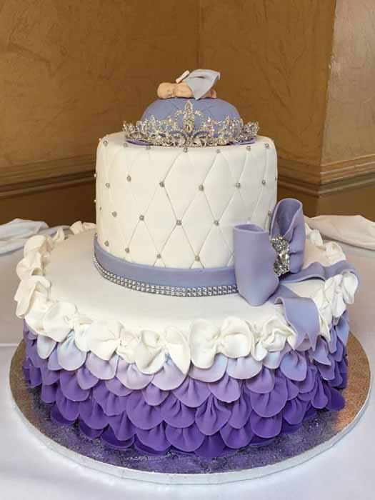 2 tiered purple and white cake