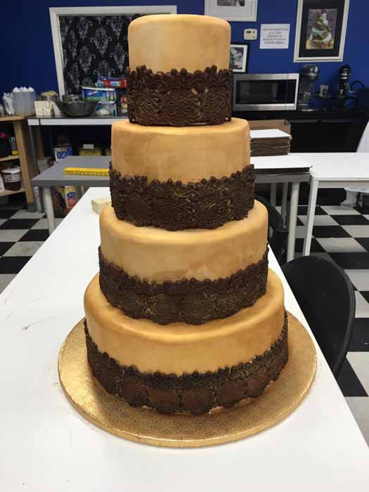 4-tiered off-white and chocolate cake