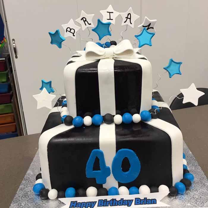 Black, blue and white 40th birthday cake
