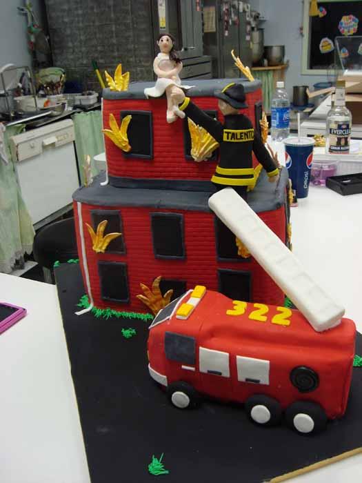 Fireman and fire truck cake