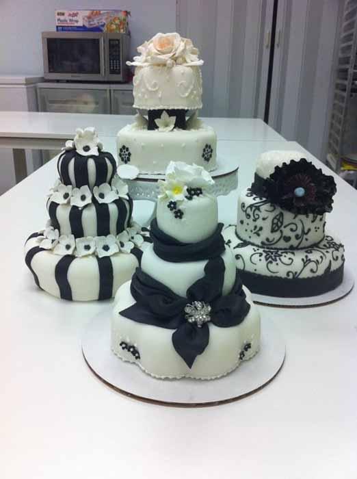 Black and white wedding cakes