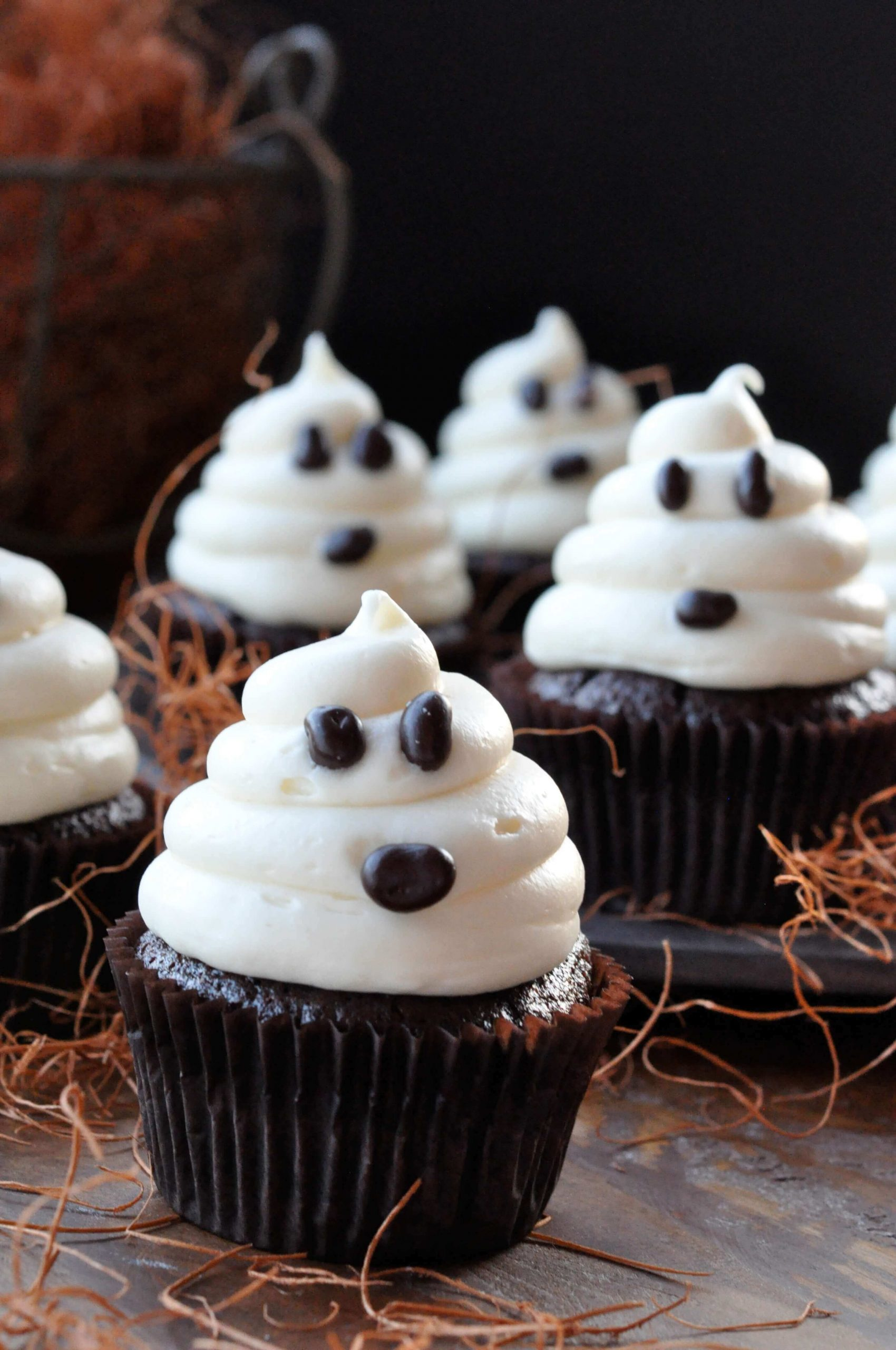Ghost chocolate cupcakes
