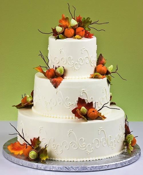 3-tiered cake with fall foliage