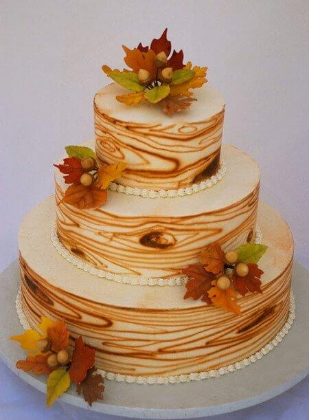 3-tiered fall wood grain cake