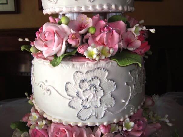 up close of 3 tiered cake with pink flowers