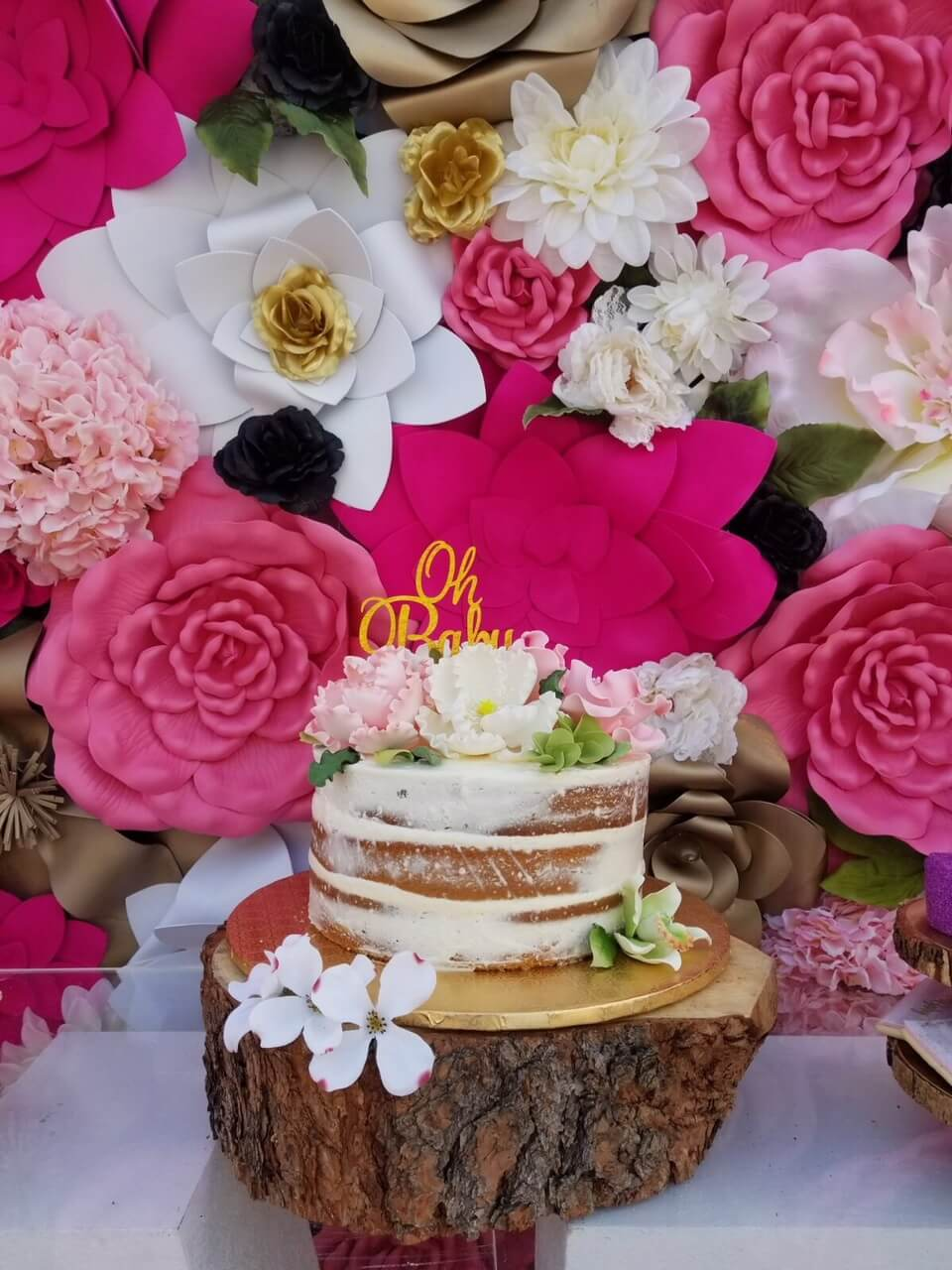Oh Baby cake with flowers in background