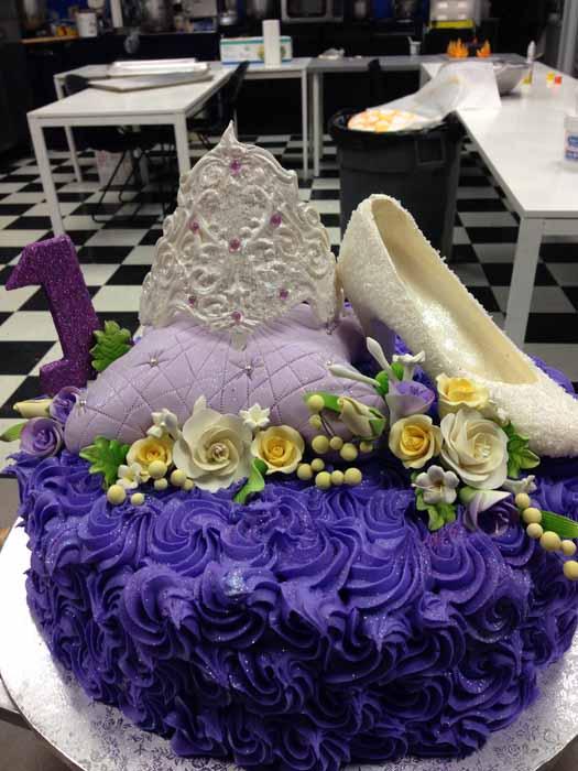 Tiara and shoe cake with purple icing