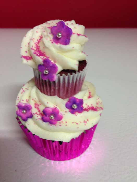 Cupcake with purple flowers