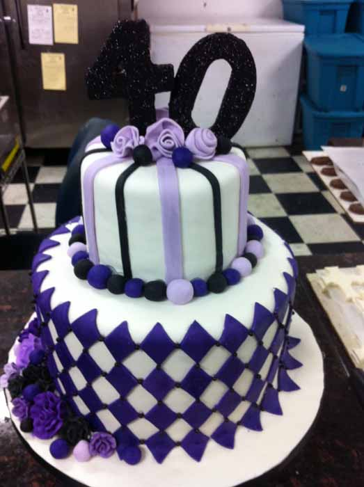 purple and white cake with black 40 on top