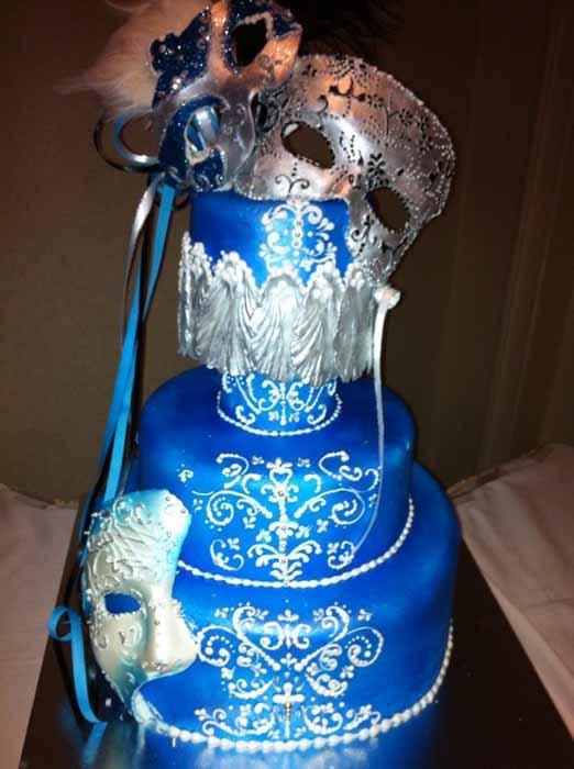 Masquerade Blue and silver cake