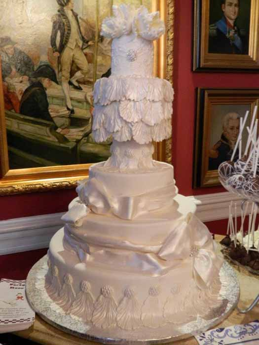 5-tiered all white cake