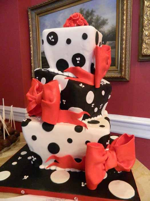 Black, white and red polka dot cake
