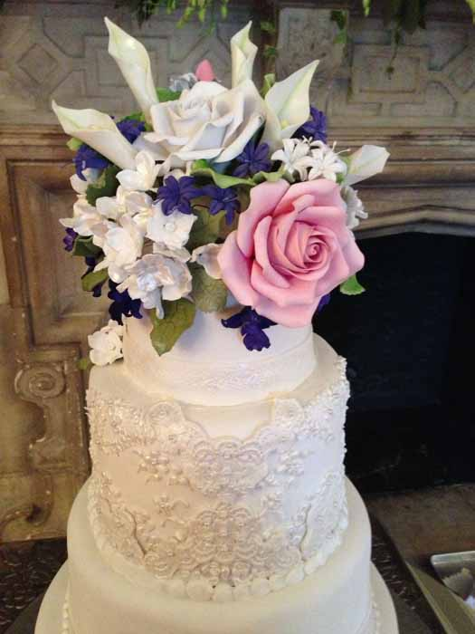 close-up of flowers on top of cake