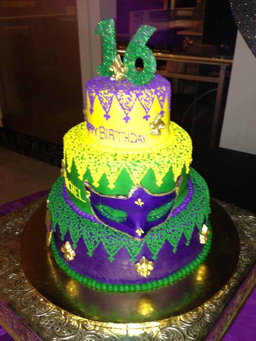 Mardi Gras cake - sweet 16
