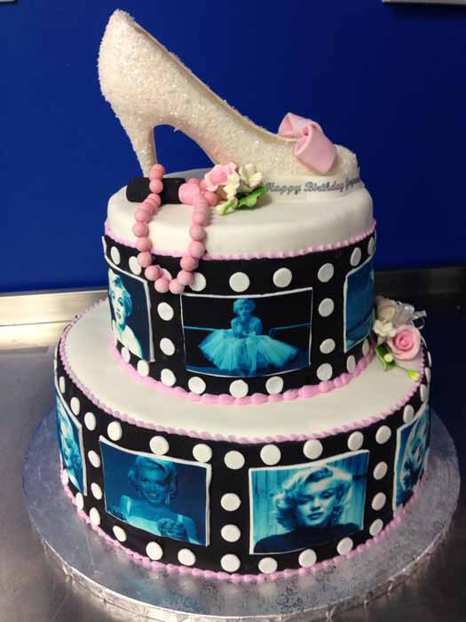 Cake with white shoe on top