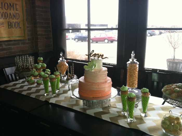 setup of cake, sweets and cupcakes