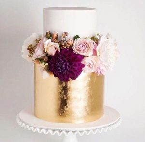 Custom Cake with Gold and Flowers