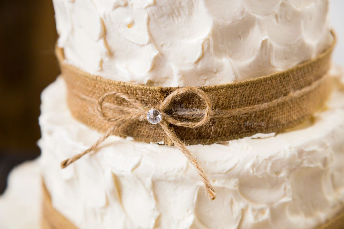 Up Close of Wedding Cake - Burlap and Twine