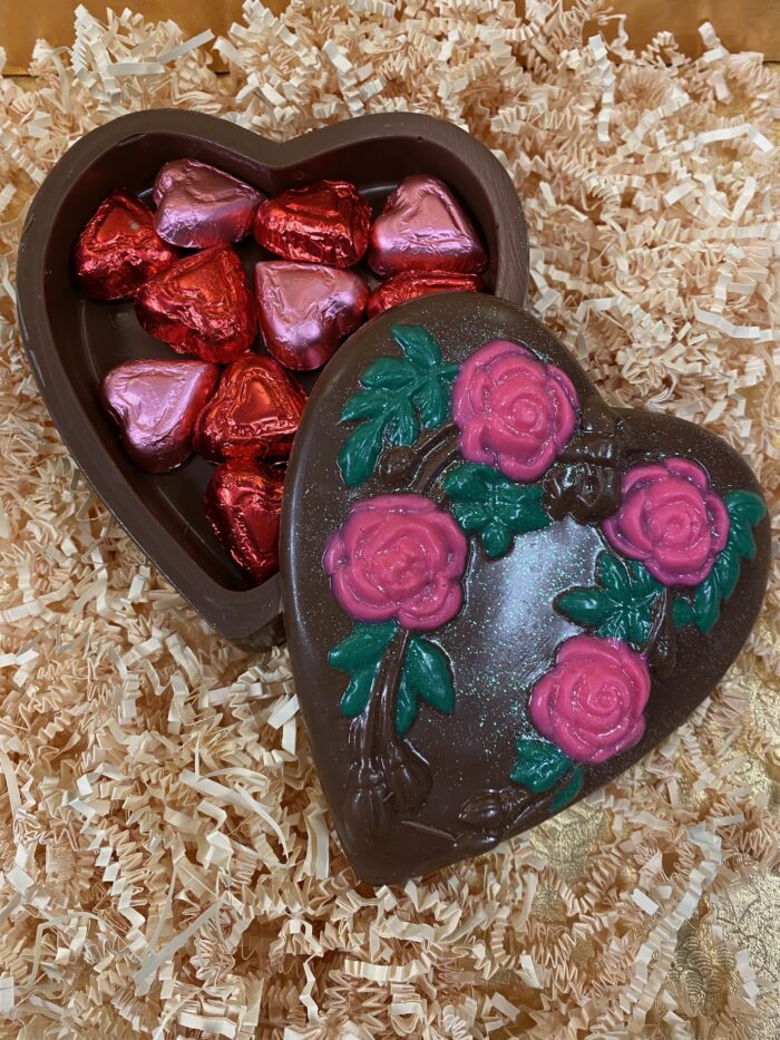 Heart Box with Foiled Chocolate Hearts